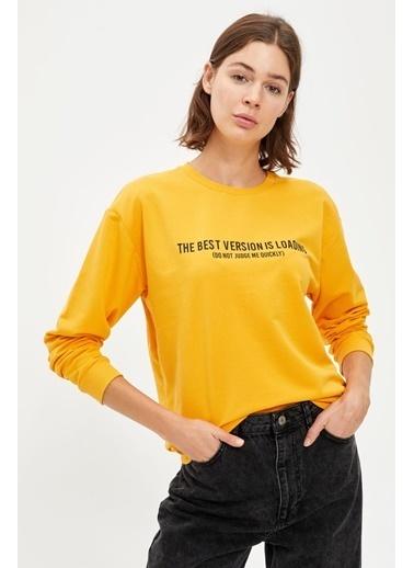 DeFacto Baskılı Bisiklet Yaka Regular Fit Sweatshirt Sarı